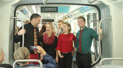 Caroling on the Cincinnati Bell Connector